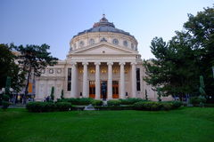 Romanian Athenaeum in Bucharest, Romania. The Romanian Athenaeum is a concert hall in the center of Bucharest, and a landmark of the Romanian capital city stock images