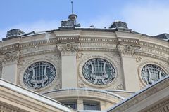 Romanian Athenaeum-detail during the winter stock images
