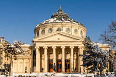 Romanian Athenaeum George Enescu. BUCHAREST, ROMANIA - JANUARY 19, 2016: The Romanian Athenaeum George Enescu Ateneul Roman opened in 1888 is a concert hall in Stock Photos