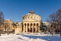 Romanian Athenaeum George Enescu. BUCHAREST, ROMANIA - JANUARY 19, 2016: The Romanian Athenaeum George Enescu Ateneul Roman opened in 1888 is a concert hall in Stock Image