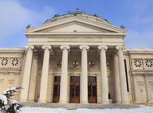 Romanian Athenaeum in winter Stock Photography