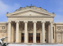 The Romanian Athenaeum in winter Stock Photos