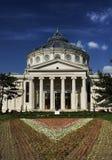 Romanian atheneum. Against deep blue sky Stock Photos