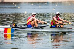 Romanian athletes on a World Rowing Cup Competition rowing royalty free stock photos