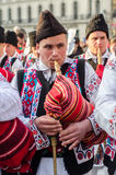 Romanian bag pipes player at Saint Patrick Parade Royalty Free Stock Photos