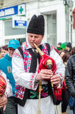 Romanian bag pipes player at Saint Patrick Parade Stock Photos