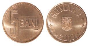 Romanian 5 bani coin Stock Images