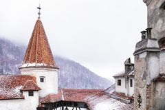 A Romanian Castle in the Snow stock photo