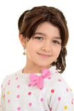 Romanian child wearing pink ribbon bow Stock Images