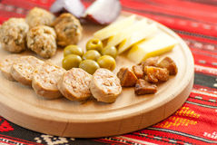 Romanian christmas appetizer consist of various pork dishes Royalty Free Stock Photo