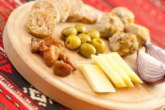 Romanian christmas appetizer consist of various pork dishes Royalty Free Stock Images