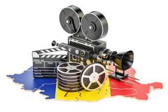 Romanian cinematography, film industry concept. 3D rendering. Isolated on white background Royalty Free Stock Image