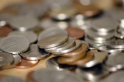 Romanian Coins. Various coloured Romanian Lei coins Stock Photo