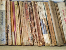 Romanian collection deteriorated old books Stock Images