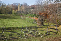 Romanian countryside. Fences and haystacks in the romanian countryside royalty free stock photos