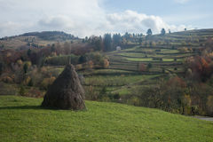 Romanian countryside. Fields and haystacks in the romanian countryside royalty free stock photos