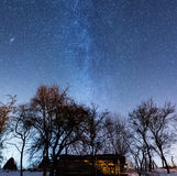 Romanian countryside under the Milky Way royalty free stock images