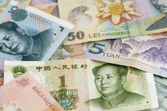 Romanian currency leu ron and chinese renminbi yuan banknotes global trade exchange concept Stock Image