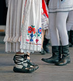 Romanian dancers legs in a traditional dance Royalty Free Stock Photo