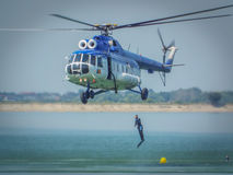 Romanian divers gendarmerie at Aeronautic show 2016 from bucharest crangasi lake, Royalty Free Stock Photography