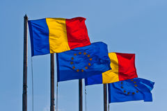 Romanian and EU Flags. Romanian and EU flag are always seen together since Romania became a member of EU. Lovely sight Royalty Free Stock Photos