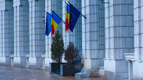 Romanian and EU flags Royalty Free Stock Photography