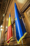 Romanian and European Union flags Royalty Free Stock Photos