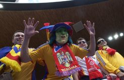 Romanian Fan Vampire Mask at EURO 2008 Stock Photography
