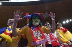 Romanian Fan Vampire Mask at EURO 2008 stock photography