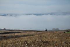 Romanian farmland. Fog rolling in over romanian farmland royalty free stock photos