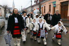 Romanian festival in traditional costume Stock Photos