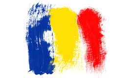 Romanian Flag. Brushstroke drawing with grey shadow on white background vector illustration