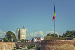 Romanian flag, Alba Iulia citadel, Romania Stock Photo
