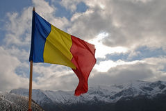 Romanian flag  an Carpathians Royalty Free Stock Photography