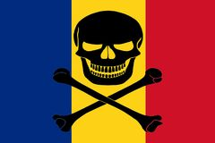 Pirate flag combined with Romanian flag. Romanian flag combined with the black pirate image of Jolly Roger with crossbones Stock Photos