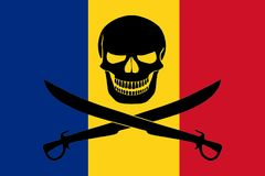 Pirate flag combined with Romanian flag. Romanian flag combined with the black pirate image of Jolly Roger with cutlasses Stock Images
