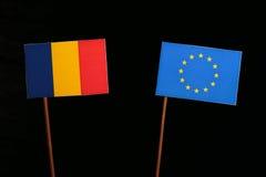Romanian flag with European Union EU flag  on black Royalty Free Stock Photo