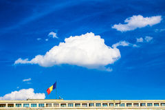 Romanian flag on government building Bucharest Romania Stock Photography
