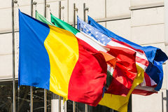 Romanian Flag Near World Flags Royalty Free Stock Photos