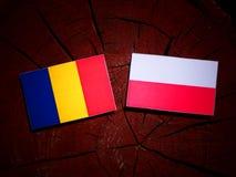 Romanian flag with Polish flag on a tree stump isolated. Romanian flag with Polish flag on a tree stump vector illustration