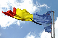 Romanian flag ripped of Royalty Free Stock Photo