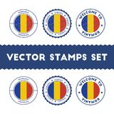 Romanian flag rubber stamps set. Stock Photo