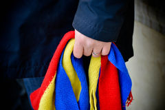 Romanian flag. Scarf and the national spirit Stock Photography