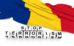 Romanian flag and text stop terrorism. Stock Photography