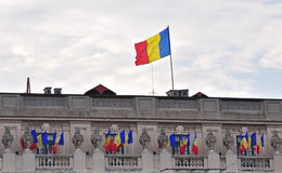 Romanian Flags. At National Military Museum from Bucharest, Romania stock images
