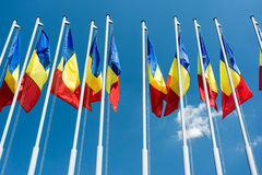 Romanian Flags Stock Photo