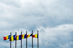 Romanian flags Royalty Free Stock Photography