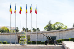 Romanian Flags And War Cannon Royalty Free Stock Image