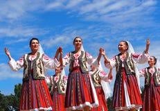 Romanian Folk Dancers. At Edmonton, Alberta Heritage Days July 30, 2016 royalty free stock photo