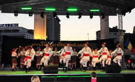 Romanian folk dancers performance Stock Photography